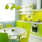 Fresh Green Interior Exterior Painting Of Kitchen With Green Wooden Kitchen Cabinets Plus Green Back Splash Tiles And Round Dining Table And Chairs Plus Stylish Lamps
