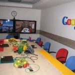 fun google conference room designs visualized with adorable color operator chairs and neutral white table