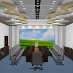 futuristic ceiling feature in astonishing conference room designs with indoor garden and ample wall screen and cozy swivel chairs and excellent large table