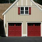 garage door costco in carriage house with red color and simple door plus windows on the top