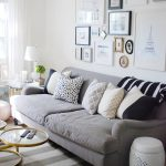 gorgeous grey living room design with gray velvet sofa design and zebra patterned cushion beneath wall photo galllery upon stripe patterned joss main rug