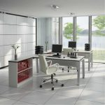 gorgeous two sided desk design with grey table and file storage and white modern swivel chairs and computer and table stationary