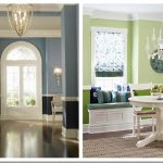gray white wall combination with arch door and chair rail molding idea with green and softer green wall design with chandelier and round table on wooden floor