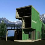 green-theme container-home living in three floors with patio in the first floor
