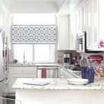 half way window curtain in grey and white patterns L shape kitchen counter kitchen cabinet system in pure white modern kitchen appliances