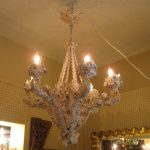 hanging chandelier with oyster shells decoration