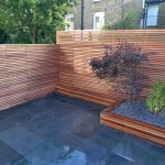 horizontal backyard railing in wood material large wood planter box