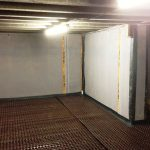 interior waterproof basement with membrane waterproofing on floor and wall