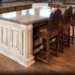 Kitchen Attractive L Shape Kitchen Design Ideas With Dark Brown Bamboo Kitchen Flooring Design Along With Rectangular White Wood Kitchen Island And Grey Granite Island Tops Stunning Kitchen Decoration