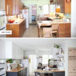 kitchen renovations before and after with dark cabinets and wooden countertop in coumbination white white scheme wall and wall mounted leaves plus bar stool and kitchen appliances