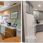 kitchen renovations before and after with gray cabinets plus natural countertop with brick back splashes and sink plus refrigerator
