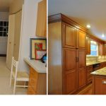 kitchen renovations before and after with light brown countertop plus marble countertop with sink and beautiful pendant lamps plus wood laminating floor and kitchen island