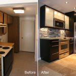 kitchen renovations before and after with new color cabinets plus tile backsplashes combined with marble countertop plus metal kitchen appliances and tile floor