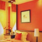 luminous interior painting ideas with orange and yellow theme mixed with contemporary platform  bed and catchy bedroom vanity and lamp shade