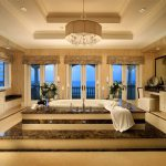 luxury architecture interior design for bathroom with glass door and windows plus double vanity units granite countertop and sink plus beautiful lighting