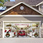 merry christmast theme in unique garage doors with beautiful wall with wood and granite stone plus brick paver floor and