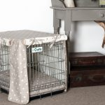 metal vertical wire dog crate with cotton wall and roof plus cozy bedding