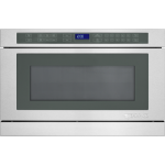 microwave in a drawer with manual setting buttons