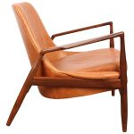 mid century modern chair in brown leather