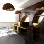 minimalist two sided desk design with wooden material in yellow brown tone with side storage and back storage beneath luxurious vault pendants upon tile flooring