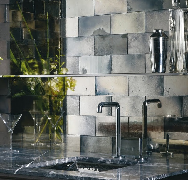 Mirror Tiles For Backsplash A Square Sink And Simple Stainless Steel Faucet Black Marble Kitchen Countertop