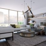 modern minimalist un porch design with white couch idea upon grey area rug with glosy round coffee table benath unique pendants with wall unit and wooden panel and sheer white curtain
