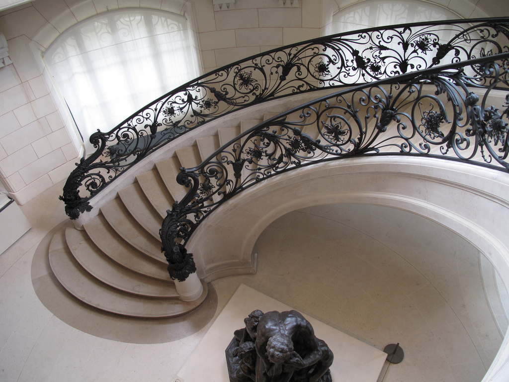 Modern Spiral Concrete Staircase Design With Black Wrought Rod Iron Railing Ideas Arch Gl Windows