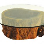 modern tree stumps side table design with natural leg and modern glass countertop