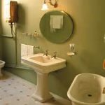 Modest Bathroom Remodel Contractors Visualized With Tiny Vanity Sets And Freestanding Tub On Chic Tile Flooring