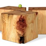 natural wooden tree stumps side table design in trile boxy idea with apple on the countertop