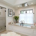 nice fur rug mixed with mesmerizing green flower bouquet in chic budget bathroom remodel with vintage alcove bathtub