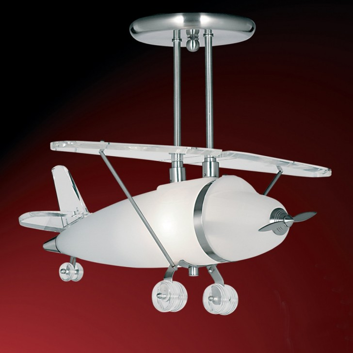 Roof Lighting Concept In Basic Form: Modern Attractive Airplane Light Fixture Concept For Kids