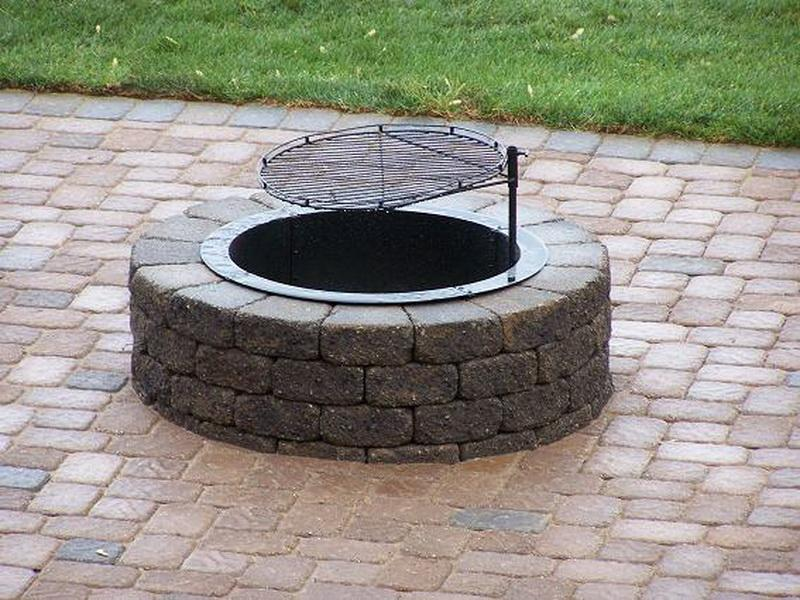 Permanent In Ground Fire Pit Round Shape Plus Grill For Grilling The Foods