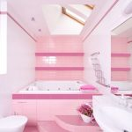 pink and white cute bathroom ideas with bathtub and flower bucket plus vanity with mirror and toilet plus pink tile floor