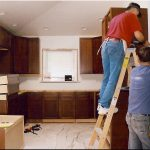 remodel contractor for kitchen with wooden cabinet and white wall scheme