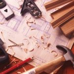 remodel contractor with repairing tools hammer wood design and home design and saw