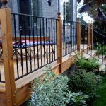 rod iron railing for outdoor stairway and fence system in outdoor porch