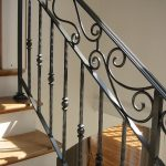 rod iron railing for staircase in black