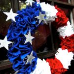 rosette wreath in red blue white colors plus glittered stars