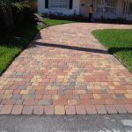 running bond brick paver patterns with 3 colors brick for pathways combined with stack bone plus grass and plant