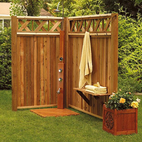 Wide options of outdoor shower fixture homesfeed - How to make an outdoor shower ...