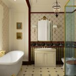 semi traditional bathroom design with white bathtub and gold water sprayer clawfeet a small vanity with single sink and gold faucet a decorative mirror with tiny gold frame two units closets