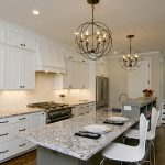 series seven stools in white color marble kitchen island white bottom and top kitchen cabinets classical hanging crystal chandelier light marble kitchen countertop modern kitchen appliances