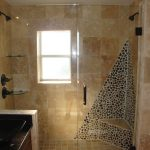 simple bathrooms remodeling with shower room with glass and tile wall and bathroom vanity units plus sink and large mirror