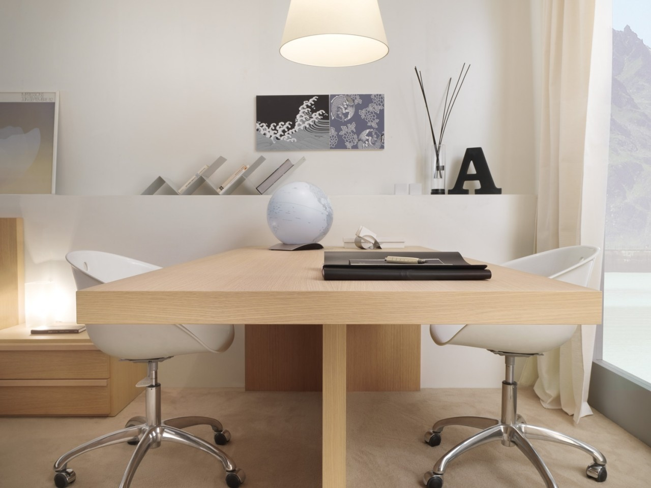 Simple Minimalist Two Sided Desk In No Finishing Stylish White Movable Chairs Permanent Bench For Book