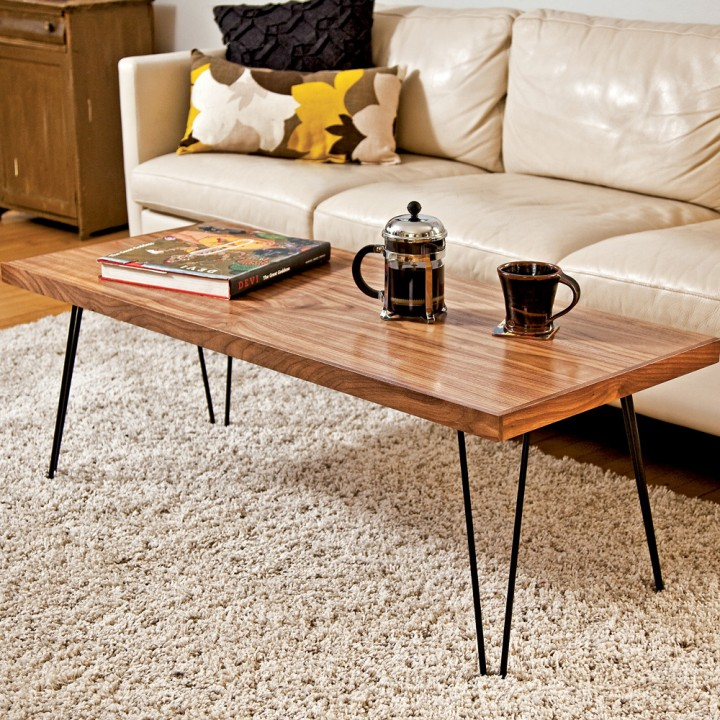 Simple Minimalist Wood Hairpin Legs Coffee Table With Dark Painted A Cup Of Black