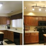 simple small kitchen remodel before and after with new furnishing cabinets plus cool lighting and sink and  wall paint combined with kitchen island