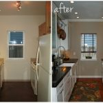 small kitchen remodel before and after with light kicthen cabinets color schemr and natural countertop plus sink and oven plus new rug and floor