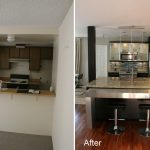 small kitchen remodel before and after with new kitchen cabinet and marble countertop plus mini bar with leather stool and granite wall plus wood floor