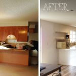 small kitchen remodel before and after with white kitchen cabinets and backsplashes combined with sink and wood floor plus stylish appliances